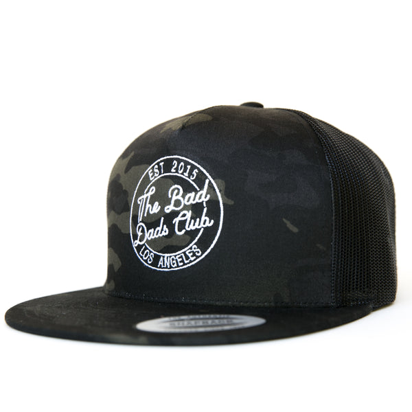 BAD DADS BLACK CAMO CIRCLE LOGO FLAT BILL SNAPBACK