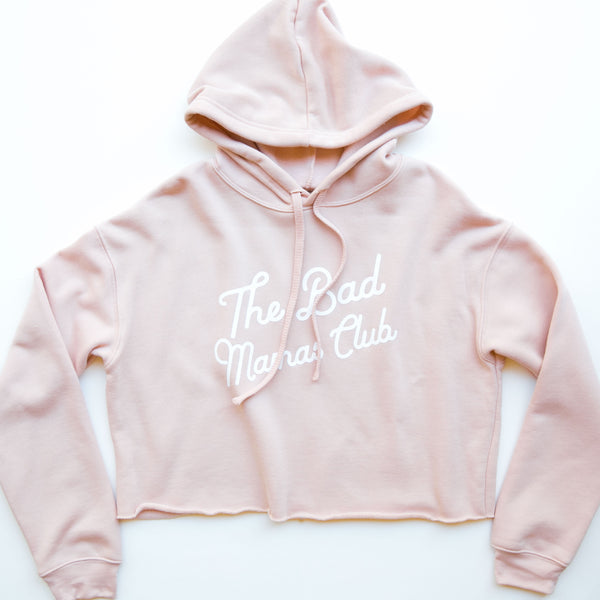BAD MAMAS CLASSIC TILT CROP FLEECE HOODIE - PEACH