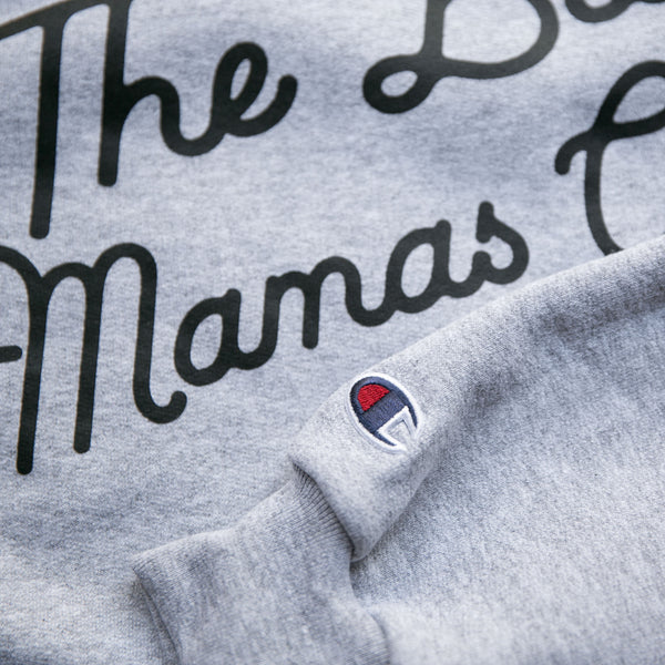 """The Bad Mamas Club"" x CHAMPION Sweatshirt (BLACK on GRAY)"