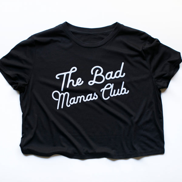 """THE BAD MAMAS CLUB"" CROP TEE (BLACK)"