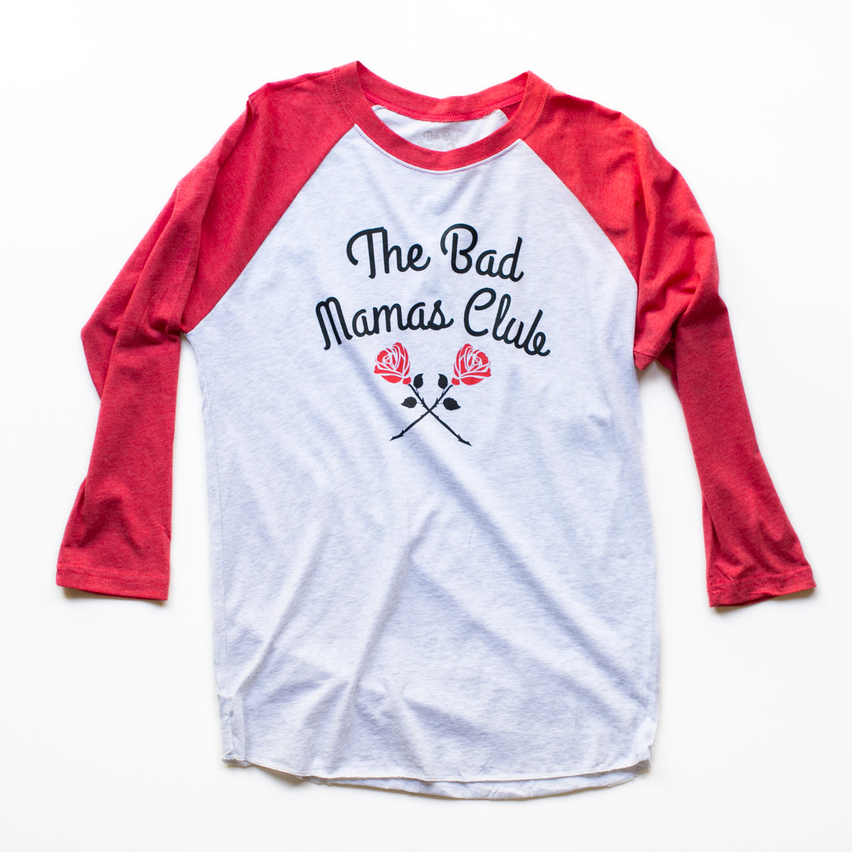 """THE BAD MAMAS CLUB"" LONG SLEEVE ROSE TEE"