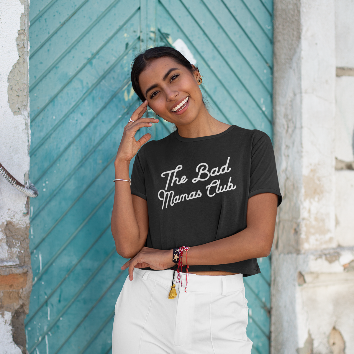 """THE BAD MAMAS CLUB"" CROP TEE (BLACK) - THE BAD DADS CLUB"