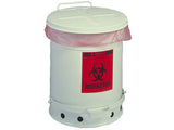 BIOHAZARD WASTE CAN, 6 GALLON, FOOT-OPERATED SELF-CLOSING COVER - SolventWaste.com