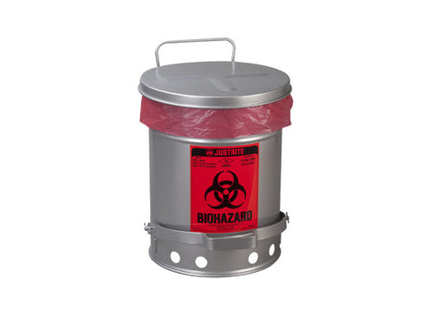 BIOHAZARD WASTE CAN, 6 GALLON, FOOT-OPERATED SELF-CLOSING SOUNDGARD™ COVER - SolventWaste.com