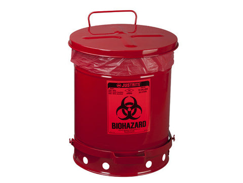 BIOHAZARD WASTE CAN, 10 GALLON, FOOT-OPERATED SELF-CLOSING COVER - SolventWaste.com
