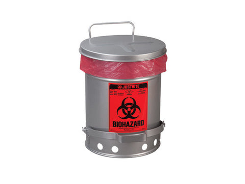 BIOHAZARD WASTE CAN, 10 GALLON, FOOT-OPERATED SELF-CLOSING SOUNDGARD™ COVER WHITE - SolventWaste.com