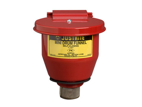 "Small Steel Drum Funnel use with 5-gal. steel pail with 2"" NPT bung, 1"" flame arrester, s/c cover - SolventWaste.com"