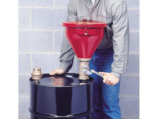 "Steel Drum Funnel #08207 w/6"" flame arrester, s/c cover, Tip-over Protection Kit for 2"" drum bung - SolventWaste.com"