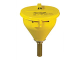 "Large Steel Drum Funnel for flammables w/32"" Flame Arrester and self-closing cover, 2"" drum bung - SolventWaste.com"