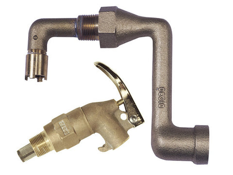 Brass Drum Siphon Adapter No. 08311 for draining 30/55-gal. drums, with brass s/c faucet - SolventWaste.com