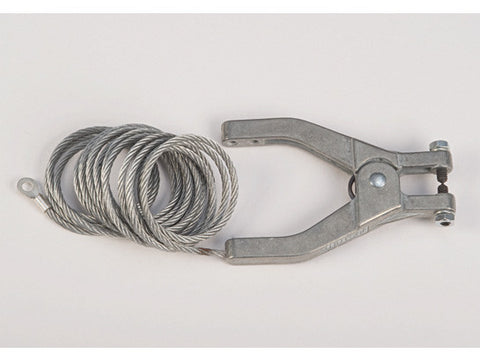 "Antistatic Flexible Wire for bonding/grounding, with hand clamp and 1/4"" terminal, 10 ft. coiled - SolventWaste.com"