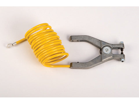 "Antistatic Insulated Wire for bonding/grounding, with hand clamp and 1/4"" terminal, 10 ft. coiled - SolventWaste.com"