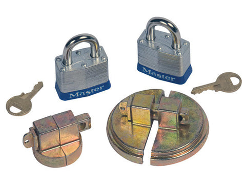 "Drum Lock Set for Steel Drums, 1 set fits 2"" bung, 1 set fits 3/4"" bung, 2 lock bars, 2 padlocks - SolventWaste.com"