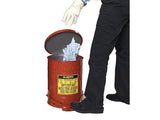 Oily Waste Can, 6 gallon (20L), foot-operated self-closing SoundGard™ cover - SolventWaste.com