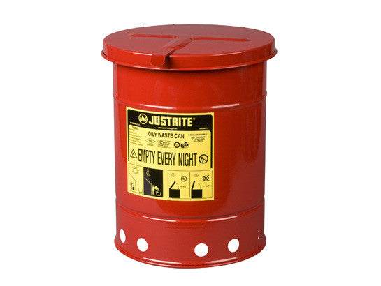 Oily Waste Can, 6 gallon (20L), hand-operated cover - SolventWaste.com