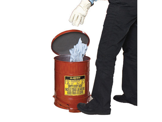 Oily Waste Can, 10 gallon (34L), foot-operated self-closing SoundGard™ cover - SolventWaste.com