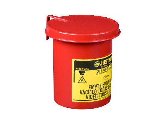 Oily Waste Mini Benchtop Can for long cotton-tip applicators, 0.45 gallon (1.7L), SoundGard™ cover - SolventWaste.com