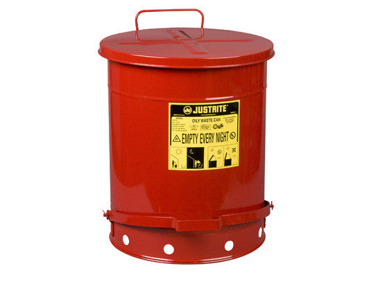 Oily Waste Can, 14 gallon (52L), foot-operated self-closing cover - SolventWaste.com