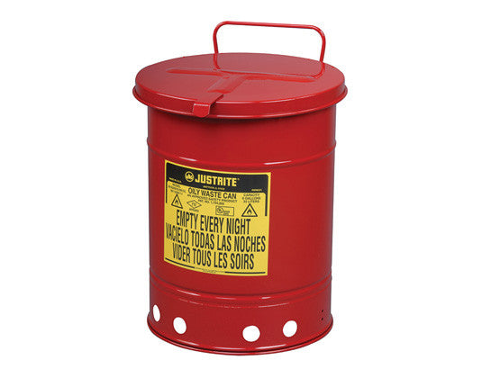 Oily Waste Can, 14 gallon (52L), hand-operated cover - SolventWaste.com