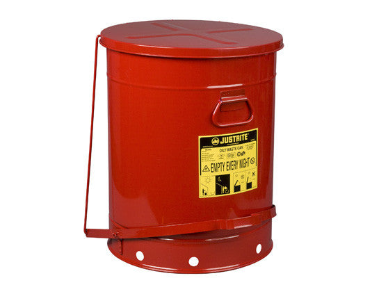 Oily Waste Can, 21 gallon (80L), foot-operated self-closing SoundGard™ cover - SolventWaste.com