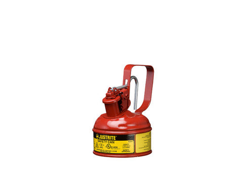 Type I Steel Safety Can with Trigger Handle for flammables, 1 pint, S/S flame arrester, self-close lid - SolventWaste.com