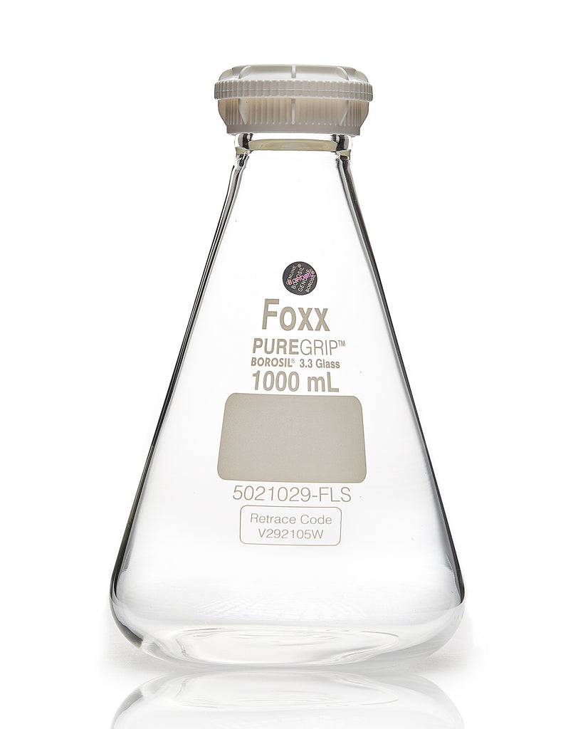 PUREGRIP® Erlenmeyer / Conical Flasks with GL45 Screw Cap 1000 mL 10/Case - SolventWaste.com