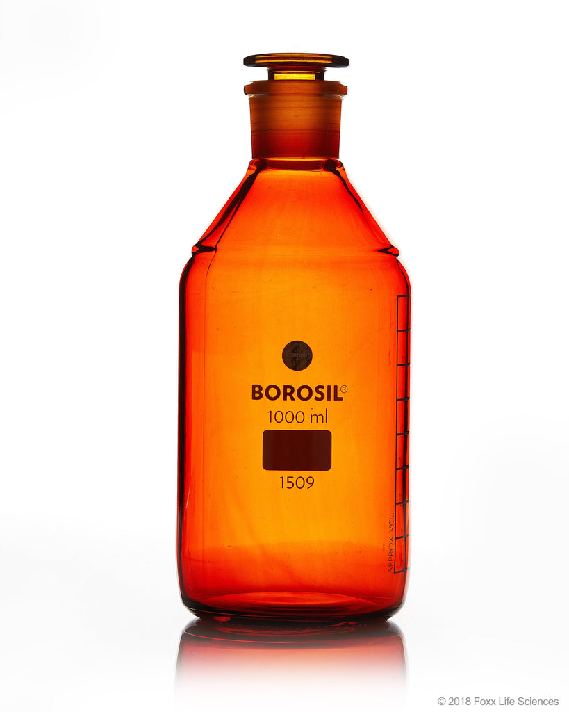 Borosil® Amber Reagent Bottles - Plain - Narrow Mouth - Graduated 1000 mL - 29/32 CS/5 - SolventWaste.com
