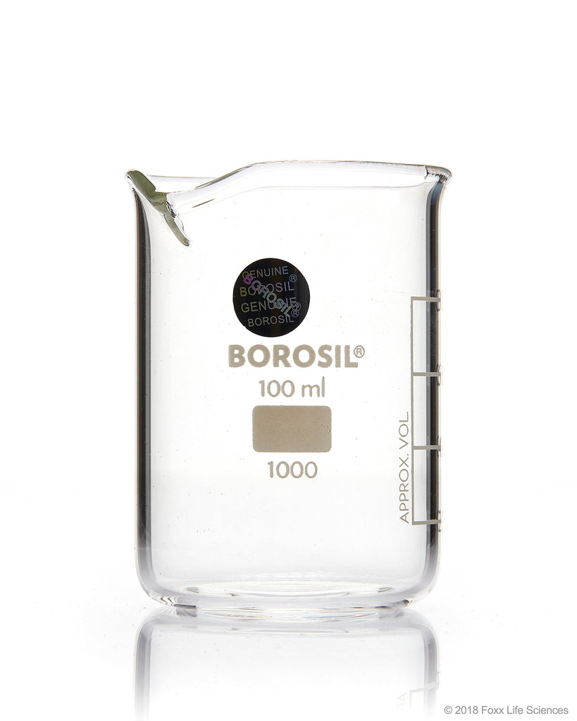 Borosil® Beaker Griffin Low Form with Spout Graduated ISO 3819 Borosilicate 100mL CS/40 - SolventWaste.com