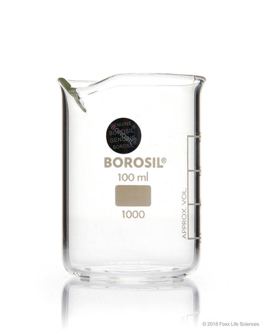 Borosil® Beakers - Low-Form - with Spout - 150mL - 40/CS - SolventWaste.com