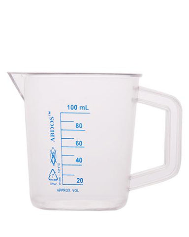 Abdos Printed Beakers with Handle, TPX Polymethyl pentene (PMP) 100ml, 6/CS