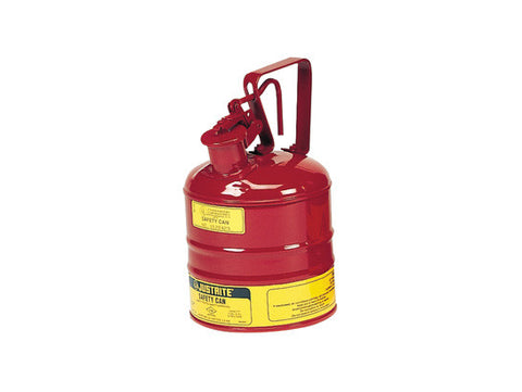 Type I Steel Safety Can with Trigger Handle for flammables, 1 gallon (4L), S/S flame arrester, self-close lid - SolventWaste.com
