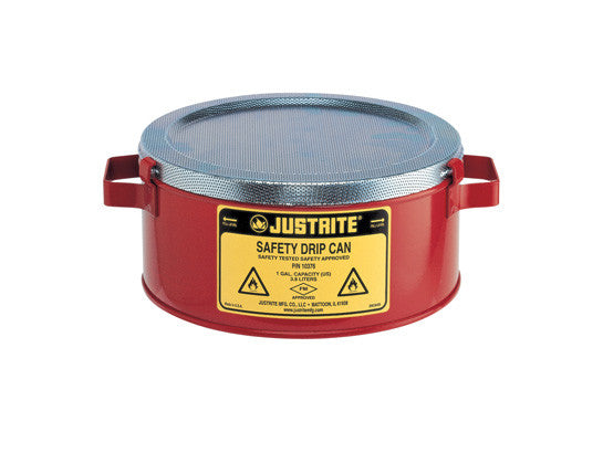 Steel Drip Can w/handles for portability, spill cap. 1-gallon, fire baffle acts as flame arrester - SolventWaste.com