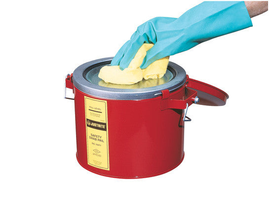 Swab Pail with dasher plate for sponging operations, 6 quart (6L), hinged cover, Steel - SolventWaste.com
