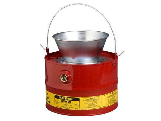 Drain Can with plated steel funnel, 3 gallons (11L), flame arrester, steel - SolventWaste.com