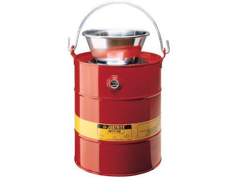 Drain Can with plated steel funnel, 5 gallons (19L), flame arrester, steel - SolventWaste.com