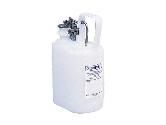Oval Safety Container for corrosives/acids, S/S hardware, 1 gallon, self-close cap, poly - SolventWaste.com