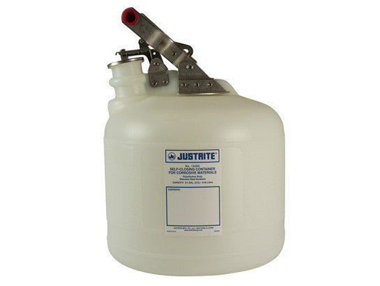 Safety Container for corrosives/acids, S/S hardware, 2.5 gallon, self-close cap, poly - SolventWaste.com