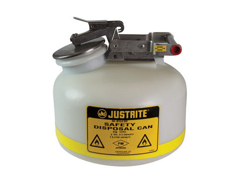 Safety Can for Liquid Disposal, S/S hardware, 2 gallon (7.5L), flame arrester, polyethylene - SolventWaste.com