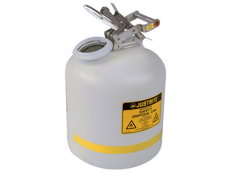 Safety Can for Liquid Disposal, S/S hardware, 5 gallon (19L), flame arrester, polyethylene - SolventWaste.com