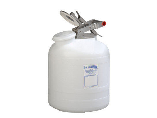 Safety Container for corrosives/acids, Wide-mouth, S/S hardware, 5 gal., self-close cap, poly - SolventWaste.com