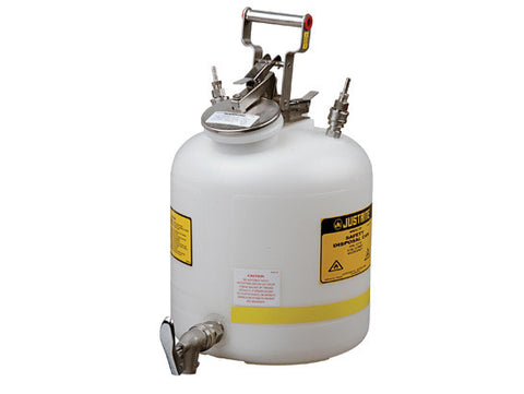 "Disposal Can with faucet, Quick-Disconnect, S/S fittings for 1/4"" tubing, 5 gallon, poly - SolventWaste.com"
