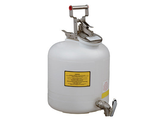 Safety Can for Liquid Disposal, S/S hardware, 5 gallon (19L), flame arrester, polyethylene, with faucet - SolventWaste.com
