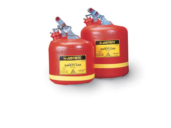 Type I Safety Can, Round Nonmetallic, S/S hardware, 2.5 gallon, flame arrester, polyethylene - SolventWaste.com