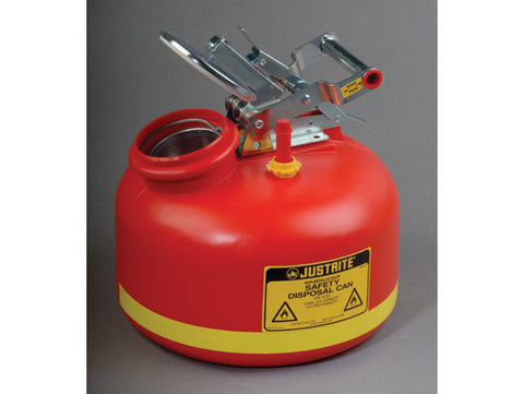 Safety Can for Liquid Disposal, S/S hardware, 2 gallon (7.5L), built-in fill guage - SolventWaste.com