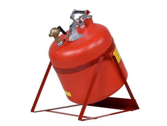 Safety Can, Tilt-style w/Stand, S/S hrdwr, 5 gal., top s/c Brass faucet, flame arrester, poly - SolventWaste.com