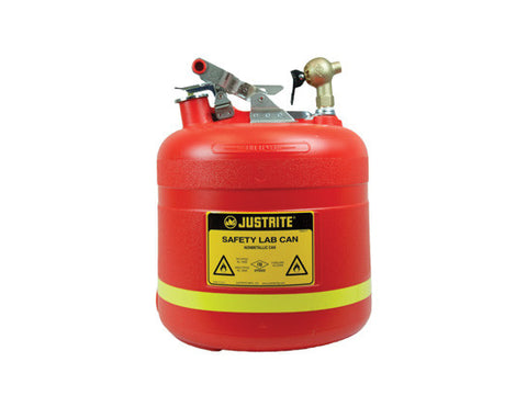 Dispensing Safety Can, S/S hardware, 5 gal., top self-close Brass faucet, flame arrester, poly - SolventWaste.com