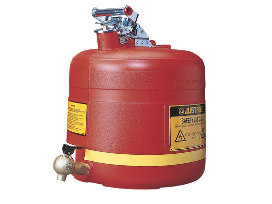 Safety Shelf Can, S/S hardware, 5 gallon, bottom self-close Brass faucet, flame arrester, poly - SolventWaste.com
