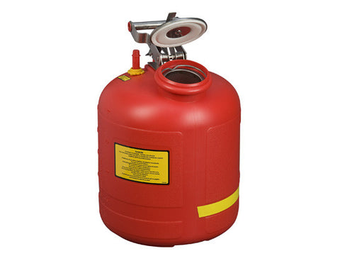 Safety Can for Liquid Disposal, S/S hardware, 5 gallon (19L), flame arrester, polyethylene, with built-in fill gauge - SolventWaste.com
