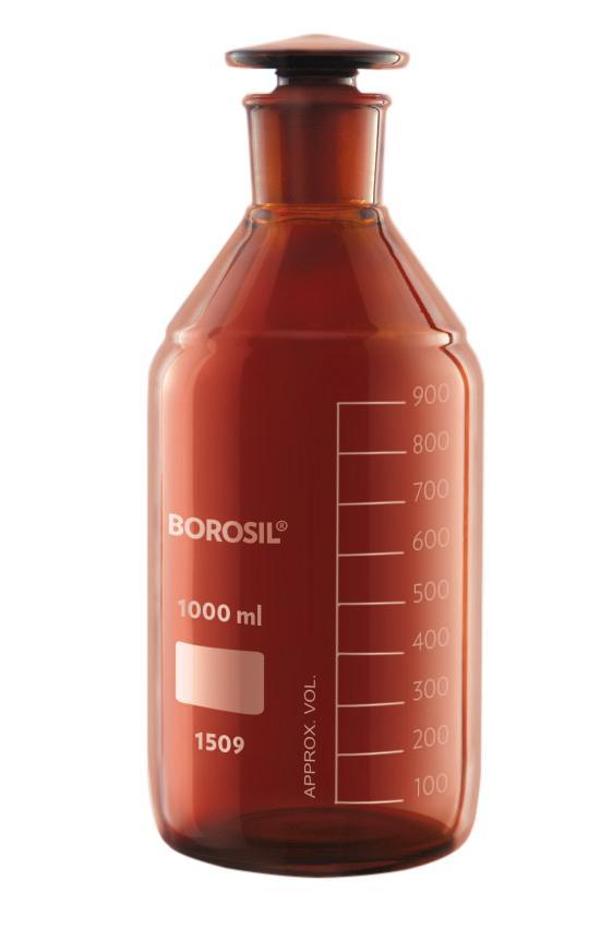 Borosil® Bottles - Reagent - Amber - with Stoppers - 2L - 29/32 - CS/5 - SolventWaste.com