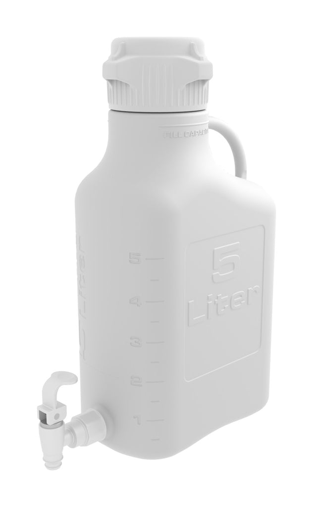 5L HDPE Carboy with 83mm Cap and Spigot - SolventWaste.com